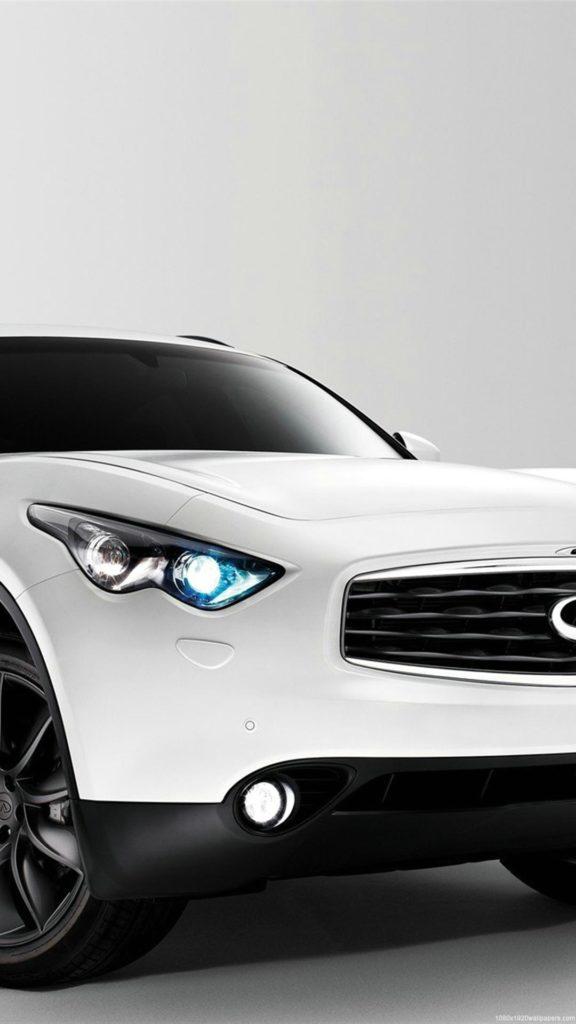белый автомобиль, infinity FX50S
