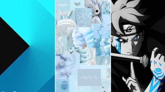 Голубые обои на телефон